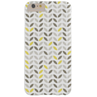 Cute Gray Yellow Leaf Pattern Barely There iPhone 6 Plus Case