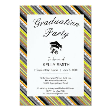 Aztec Themed Cute gray yellow orange aztec graduation party card