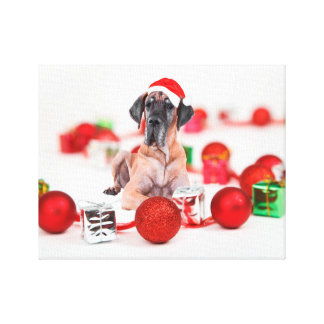 Cute Great Dane Dog Christmas Santa Canvas Print