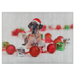 Cute Great Dane Dog Christmas Santa Hat Cutting Board