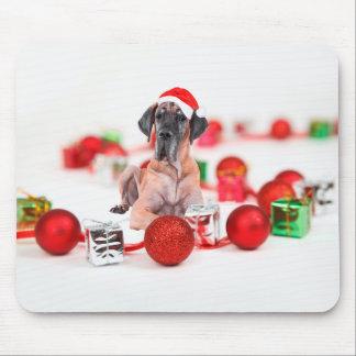 Cute Great Dane Dog Christmas Santa Hat Mouse Pad