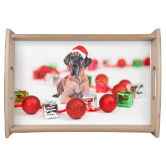 Cute Great Dane Dog Christmas Santa Hat Serving Tray