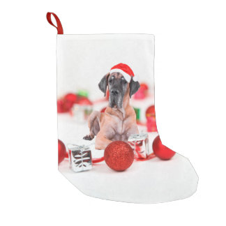 Cute Great Dane Dog Christmas Santa Hat Small Christmas Stocking