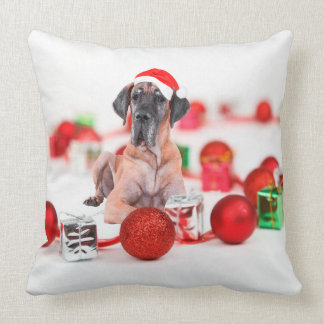 Cute Great Dane  Dog Christmas Santa Hat Throw Pillow