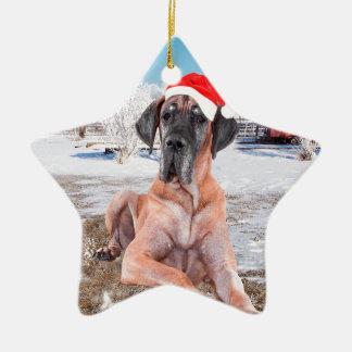 Cute Great Dane Dog Sitting In Snow Christmas Hat Ceramic Ornament