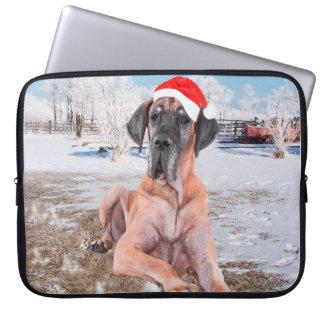 Cute Great Dane Dog Sitting In Snow Christmas Hat Laptop Sleeves