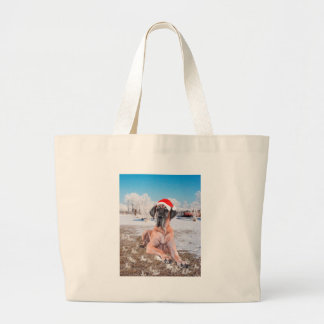 Cute Great Dane Dog Sitting In Snow Christmas Hat Large Tote Bag