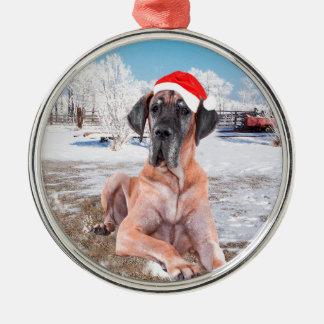 Cute Great Dane Dog Sitting In Snow Christmas Hat Metal Ornament
