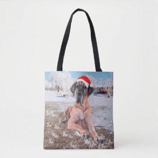 Cute Great Dane Dog Sitting In Snow Christmas Hat Tote Bag