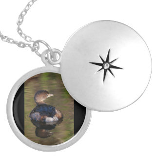 Cute Grebe Round Locket Necklace