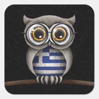 Cute Greek Flag Owl Wearing Glasses Square Sticker