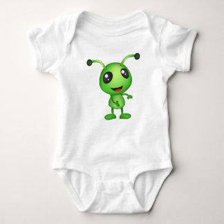 Cute green alien baby bodysuit