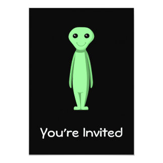 Cute Green Alien. Cartoon. Card