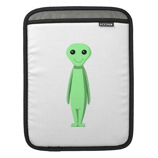 Cute Green Alien. Cartoon. Sleeve For iPads
