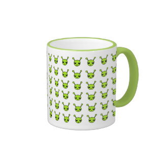 Cute Green Aliens Ringer Mug