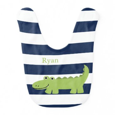 heartlocked Cute Green Alligator Baby Bib