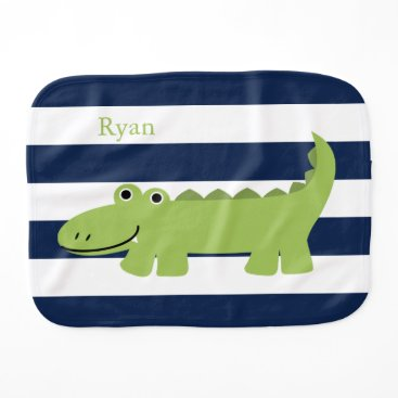 heartlocked Cute Green Alligator Baby Burp Cloth