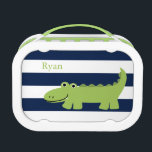 """Cute Green Alligator Lunch Box<br><div class=""""desc"""">Adorable design features a funny alligator illustration on a horizontal stripes pattern background. Personalize with your child&#39;s name,  monogram,  or any text of your choice. Art by cocoa studio.</div>"""