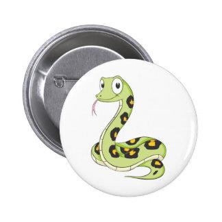 Cute Green Anaconda Snake Cartoon Button