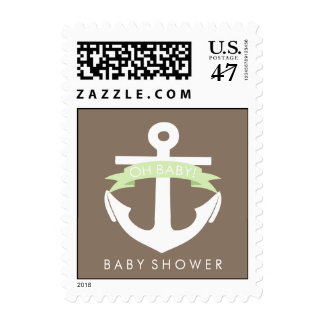 Cute Green Anchor and Ribbon Nautical Baby Shower Postage