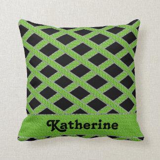 Cute Green and black crisscross monogram pillow