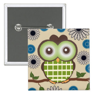 Cute Green and Brown Owl Button