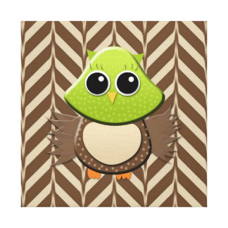 Cute Green and Brown Owl Canvas