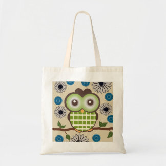 Cute Green and Brown Owl Tote Tote Bags