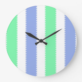 Cute Green and Purple Dots and Stripes Large Clock