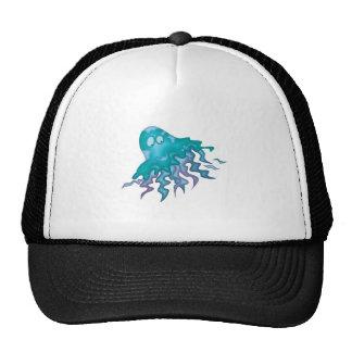cute green and purple squid trucker hat