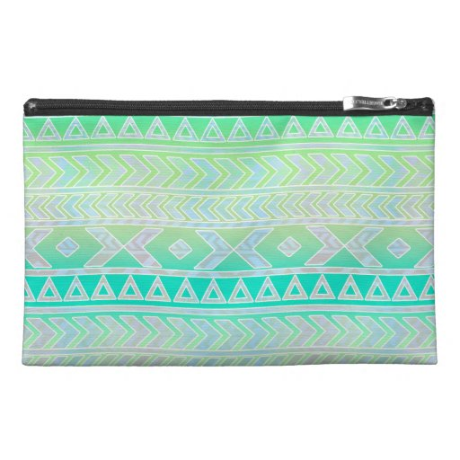 Cute Green and Teal Aztec Stylic Pattern Travel Accessories Bag