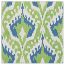 Cute green and teal blue ikat tribal pattern fabric