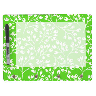 Cute green and white autumn berries dry erase board with keychain holder