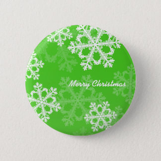 Cute green and white Christmas snowflakes Button