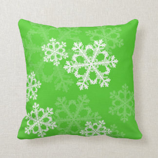 Cute green and white Christmas snowflakes Pillow