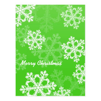 Cute green and white Christmas snowflakes Postcard