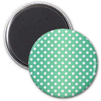 Cute Green and White Polka Dot Pattern 2 Inch Round Magnet