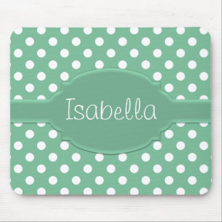 Cute Green and White Polka Dot Pattern & Nameplate Mouse Pad