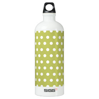 Cute Green and White Polka Dots Pattern Aluminum Water Bottle