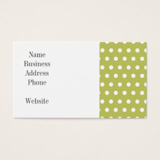 Cute Green and White Polka Dots Pattern Gifts Business Card