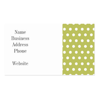 Cute Green and White Polka Dots Pattern Gifts Double-Sided Standard Business Cards (Pack Of 100)