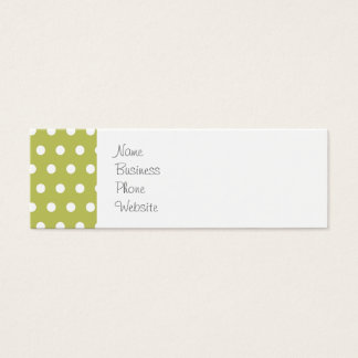 Cute Green and White Polka Dots Pattern Gifts Mini Business Card