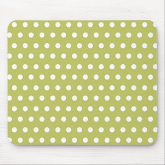 Cute Green and White Polka Dots Pattern Gifts Mouse Pad