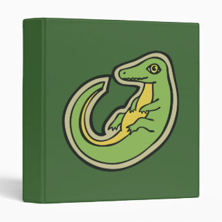 Cute Green And Yellow Alligator Drawing Design 3 Ring Binder