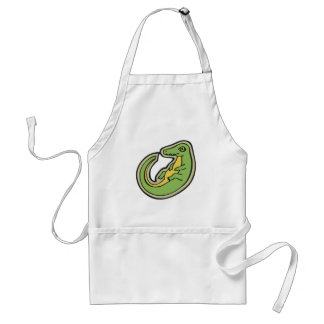 Cute Green And Yellow Alligator Drawing Design Adult Apron
