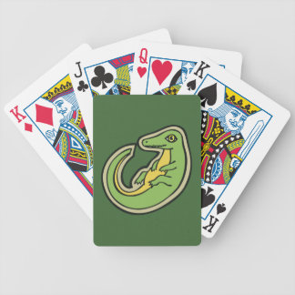 Cute Green And Yellow Alligator Drawing Design Bicycle Playing Cards