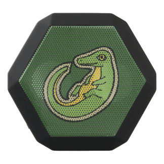 Cute Green And Yellow Alligator Drawing Design Black Bluetooth Speaker