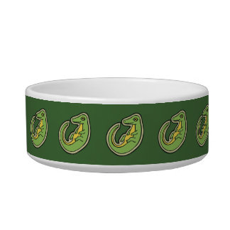 Cute Green And Yellow Alligator Drawing Design Bowl