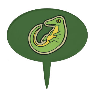 Cute Green And Yellow Alligator Drawing Design Cake Topper