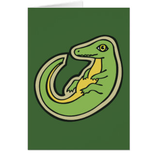 Cute Green And Yellow Alligator Drawing Design Card
